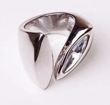 Llamativo geométricas Tono Plata masiva anillo en forma de almendra Sparkle (zx22)