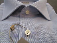 "$265 Ike Behar New York Men Dress Shirt Haze Blue 15 Long Sleeve 36"" Italy NWT"