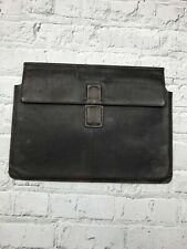 "D. BRAMANTE Brown Leather 15"" Laptop Case With Suede Lining"