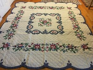 "NEW Handmade Blue Danube Patterns Quilt   101"" x 90"""