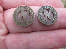 2 Vintage Brass Virginia Electric & Power Co. Norfolk Va. Div. Transit Token