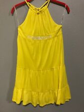 NWT Chaps Size XL (16) Girl's Yellow Dress with ruffle back and flower detail