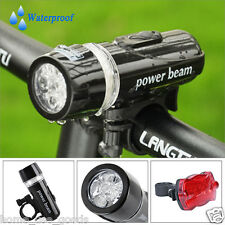 5 LED Bike Bicycle Cycle Head Front Lights + Rear Lamp Super Bright Waterproof