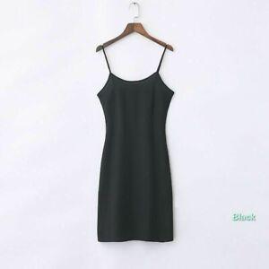 Lady Chiffon Strappy Full Slip Slim Dress Underskirt Petticoat Chemise Sleepwear