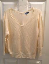 Kay Leigh Designs Cream Top Sweater EUC Size 2xl  Rayon Nylon V Neck
