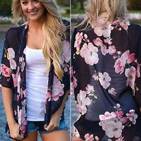 Boho Women Floral Chiffon Shawl Kimono Cardigan Tops Cover up Shirts Blouse Coat
