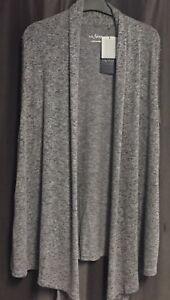 """Damen Strick Weste """"Via Appia"""" grau melliert Größe 40 offen, ohne Verschluss"""