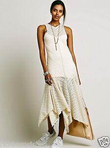 Free People Maxi Slip Dress ivory Sheer Lace Swingy Hem Intimately S NEW