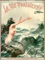1927 La Vie Parisienne Mermaid and Airplane France Travel Advertisement Poster