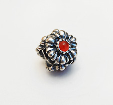 "Genuine Pandora Birthday Blooms Charm ""July - Carnelian""  790580CAR - retired"