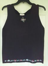 Crystal Kobe Womens XL Knit Top NEW Black Floral Embroidery 100% Cotton