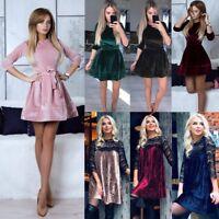 Womens Velvet Party Cocktail Mini Dress Ladies Winter Long Sleeve Skater Dresses
