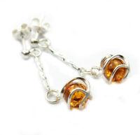 Beautiful 925 Sterling Silver & Baltic Amber Designer Earrings SilverAmber GL022
