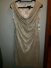 NWT.Ladies' ralph lauren white/gold metallic drapery front lined dress size 12