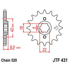 Pignon acier 14 dents type 431 pas 520 suzuki rm250 Jt sprockets JTF431.14