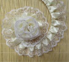 1 yd Vintage Beige Pleated Organza Lace Trim Gathered Wedding Ribbon Sewing DIY