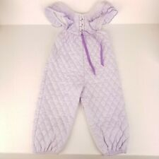 Vintage Evy Of California Infant Girls Overalls Sz 18M Purple Quilted 80s