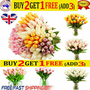 10-40X Artificial Fake Flower Real Touch Tulips Bouquet Home Bridal Wedding `