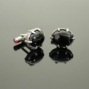JEFFERY WEST CUFFLINKS - LUXURY 'BLACK ONYX' BEAST CLAW CRYSTAL CUFF LINKS RARE!