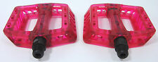Wellgo B107 Flat Mountain Bike/BMX/DH Bicycle Pedals Translucent Clear Red