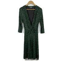 Jacqui E Womens Dress Size Small Green Black 3/4 Sleeve Pencil Dress Gorgeous
