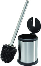 Toilet Bowl Brush and Holder with Self Closing Lid, Space Stainless Steel