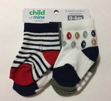 Child of Mine by Carters Baby Boy 4 pk Socks 0-6 months Red Blue Gray Assorted