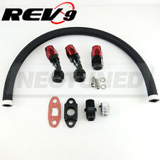 "Rev9 Black 17"" Turbo Braided Oil Drain Line Kit Set 10AN For T3 T3T4 T4 T70 T66"