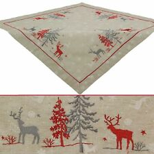 Christmas Tablecloths Topper Deer In Woods Embroidery 85x85 cm, Linen Look Beige