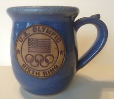 US OLYMPIC Rings Sixth Ring Flag Mug Pottery Large Blue Speckled Signed Souvenir