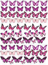 62 PRETTY PINK PURPLE MIXED BUTTERFLIES BIRTHDAY WEDDING EDIBLE CUP CAKE TOPPERS