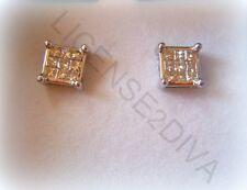 WHITE GOLD PRINCESS CUT FINE 14K DIAMOND EARRINGS BEAUTIFUL LADIES OR MEN'S