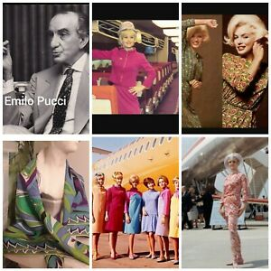 "VINTAGE, BRANIFF, 1974 ""EMILO PUCCI""  ITALIAN DESIGNER GEOMETRIC SCARF"
