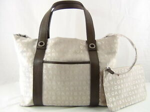 US seller Authentic BVLGARI LOGO TOTE BAG WITH POUCH BAG LOGOMANIA Good