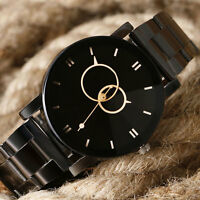 Women Mens Fashion Casual Sport Quartz Wrist Watch Black Stainless Steel Gift