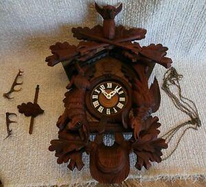 Large Vintage West Germany Hunters Cuckoo Clock ~ Parts or Repair