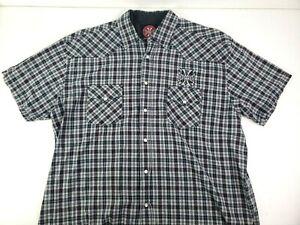 West Coast Choppers Jesse James Mens Short Sleeve Pearl Snap Shirt Size 2XL XXL