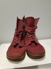 DR.MARTENS STRATFORD Maroon Canvas Women Boots Size 6 EUR 37 Lace Up Checkered