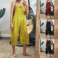 ZANZEA Women Casual Long Bib Cargo Pants Dungaree Overalls Coveralls Plus Pants