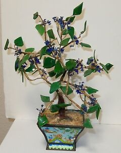 RARE OLD CLOISONNE REPOUSSE ENAMEL GLASS STONE BONSAI TREE