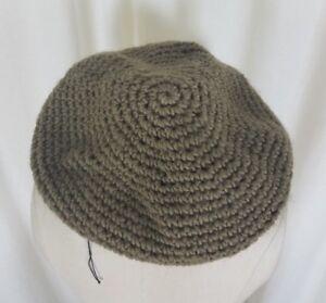 Vintage Knit Crochet Beret Flat Flexible Stretch Circle Rope Look Hat Tan Olive