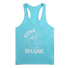 GYM MENS MUSCLE SLEEVELESS SHIRT TANK top BODYBUILDING SPORT FITNESS VEST SHARK