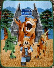 "Lego Jurassic World Silky Soft Throw Blanket 40"" x 50""  Dinosaur Boy"