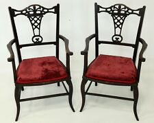 2 Antique French Elbow Chairs Pierced Back Splats FREE Nationwide Delivery