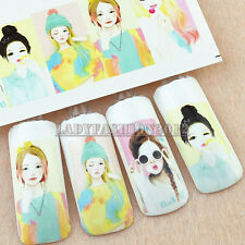 Korea Young Lady Portrait 3D Design  Water Transfer Nail Art Stickers Decal 33#