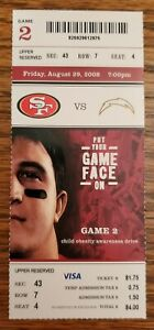 San Francisco 49ers San Diego Chargers Football Ticket 8/29 2008 Stub