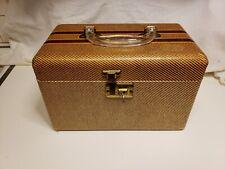 Vintage Train Vanity Makeup Case. Tweed Brown Striped Wooden Luggage. Lock w/key