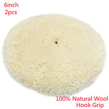 Polishing Pad Buffing Pads 2Pcs 6inch 100% Natural Wool Hook Grip Burnishing Pad
