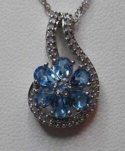 "Estate~1 2/5 ct Aquamarine & 1/3 Diamonds Sterling Silver Pendant, 18"" Necklace"