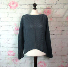 Hess Natur Style Damen Pullover Grobstrick Bio Baumwolle Grau Sweater Gr. M